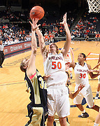 Nov. 14, 2010; Charlottesville, VA, USA; Virginia forward Chelsea Shine (50) grabs a rebound in front of Mount St. Mary's forward Jessie Kaufman (32) during the game at the John Paul Jones Arena. Virginia won 81-58. Mandatory Credit: Andrew Shurtleff