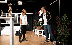 The Removal Service <br /> By Will Pattle and Alice Briganti <br /> Directed by Luke Adamson<br /> Presented by OVO<br /> At The Maltings Theatre, St. Albans, Hertfordshire, Great Britain <br /> Rehearsal / press photo call <br /> 12th March 2021 <br /> <br /> Live stream:<br /> Saturday 13th March 2021 at 7.30pm<br /> <br /> Recording available to stream:<br /> Sunday 14th to Saturday 27th March 2021<br /> <br /> WILL PATTLE as Greg<br /> CHICHO TCHE as Zeek<br /> <br /> <br /> <br /> Set design by Simon Nicholas<br /> Costume design by Delga Martineau<br /> Lighting design by Adam Bottomley<br /> <br /> Photograph by Elliott Franks