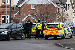 © Licensed to London News Pictures. 09/01/2020. Didcot, UK. Thames Valley Police set up a cordon after blood was discovered on a house door, the crime scene in the Mendip Heights estate is close to  where three men were injured during an incident and were taken to hospital for treatment. One of the men, aged in his forties was later pronounced dead and a murder investigation was launched. The victim received multiple stab wounds. Two other victims, one man in his twenties and another man in his thirties, are in serious but stable conditions in hospital. Photo credit: Peter Manning/LNP