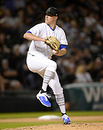 CHICAGO - AUGUST 24:  Kolby Allard #39 of the Texas Rangers pitches against the Chicago White Sox during Players Weekend on August 24, 2019 at Guaranteed Rate Field in Chicago, Illinois.  (Photo by Ron Vesely)  Subject:   Kolby Allard