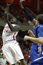 29 December 2010: Tony Lewis gasps as he lets go of a lay up during an NCAA basketball game where the Creighton Bluejays defeated the Illinois State Redbirds at Redbird Arena in Normal Illinois.