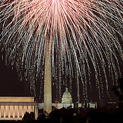 July 4th fireworks rain down over the monuments in Washington, DC
