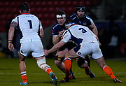 Sale Sharks flanker Cobus Wiese runs at Edinburgh Rugby prop Simon Berghan during the European Champions Cup match Sale Sharks -V- Edinburgh Rugby at The AJ Bell Stadium, Greater Manchester,England United Kingdom, Saturday, December 19, 2020. (Steve Flynn/Image of Sport)