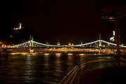 night photography of The Liberty Bridge, Budapest, Hungary over the Danube River