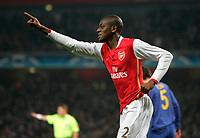 Photo: Tom Dulat/Sportsbeat Images.<br /> <br /> Arsenal v Steaua Bucharest. UEFA Champions League. 12/12/2007.<br /> <br />  Arsenal's Abou Diaby celebrates his opener. Arsenal leads 1-0