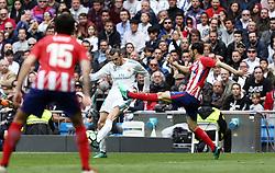 April 8, 2018 - Madrid, Madrid, Spain - Bale (Real Madrid) in action during the La Liga match between Real Madrid and Atletico de Madrid FC at Estadio Santiago Bernabeu. (Credit Image: © Manu Reino/SOPA Images via ZUMA Wire)