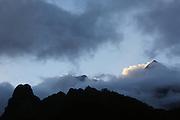 Mount Orohena mountain, on the island of Tahiti. With an elevation of 2,241 metres (7,352ft) above sea level, it is the highest point of French Polynesia. Mont Orohena is an extinct volcano. Papenoo route, central Tahiti, French Polynesia<br /> <br /> Un nouveau regard sur la Polynesie Francaise. Dynamisation, collaborations, innovation, developpment resources, economie, entreprises et organismes polyesiennes, endemisme terrestre et marin, biodiversite, biomolecules, biotechnologies, endemisme terrestre et marin, energies renouvelables, preservation durables, climat tropical, alternatives a l'utilisation de produits chimiques, transformation agroalimentaires, usages traditionnels des plantes, utilisation des plantes endemiques en cosmetique et en medecine, aquaculture performante et durable, valorisation des dechets, outre mer et la zone pacifique, technologies innovantes, synergies, culture, traditions, technologique et scientifique, collaborations, stimulation, production et realization, protection, transformation, diversite, pharmocopee, experimentation, autonomie, espace naturels et eco-tourisme,