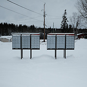 Mailboxes at the Ochiichagwe'Babigo'Ining Ojibway Nation reserve (also known as the Dalles First Nation) in Northern Ontario, Canada on 20 December 2016.