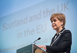 © Licensed to London News Pictures. 29/02/2016. London, UK. Leader of the SNP NICOLA STURGEON delivers a speech on the EU to think-tank, Resolution Foundation at St John's Smith Square . Photo credit: Ben Cawthra/LNP
