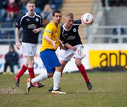 Cowdenbeath's Sean McAllister and Falkirk's Craig Sibbald..half time : Falkirk 0 v 0 Cowdenbeath, 6/4/2013..©Michael Schofield..