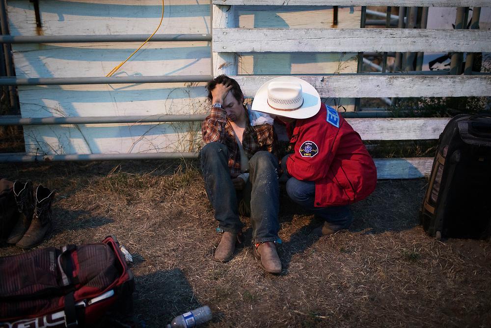 during the Oyen Bull Riding event in Oyen, Alberta, July 20, 2017. Todd Korol