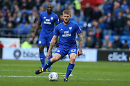Aron Gunnarsson of Cardiff city in action. EFL Skybet championship match, Cardiff city v Sheffield Wednesday at the Cardiff City Stadium in Cardiff, South Wales on Saturday 16th September 2017.<br /> pic by Andrew Orchard, Andrew Orchard sports photography.