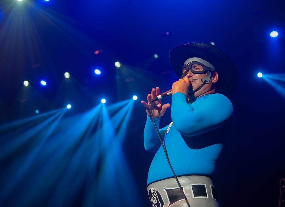 MC Bat Commander of The Aquabats! performing at Pacific Amphitheatre August 14, 2021. (Photo by Miguel Vasconcellos, OC Fair & Event Center)