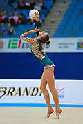 Mazur Viktoria of Ukrain competes during the Rhythmic Gymnastics Women's Individual ball Qualification of World Cup of Pesaro on April 1, 2016. Viktoria is ritired gymnast born in Luhansk  Ukraine in 1994.