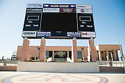 """Sponsors names listed on the scoreboard at Allen High School in Allen, Texas on August 24, 2016. """"CREDIT: Cooper Neill for The Wall Street Journal""""<br /> TX HS Football sponsorships"""
