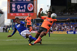 David Davis of Birmingham City sees his shot blocked by Liam Moore of Reading - Mandatory by-line: Paul Roberts/JMP - 26/08/2017 - FOOTBALL - St Andrew's Stadium - Birmingham, England - Birmingham City v Reading - Sky Bet Championship