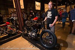 Harley-Davidson motorcycle designer Casey Ketterhagen with his great 1931 custom Harley-Davidson VL on Saturday at the Handbuilt Motorcycle Show. Austin, TX. April 11, 2015.  Photography ©2015 Michael Lichter.