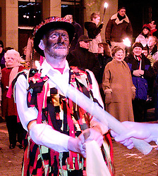 Wath Morris Men Dance in Wath Town Square on Sunday Night during the Wath Fire Festival<br /><br />Sunday23-12-2001