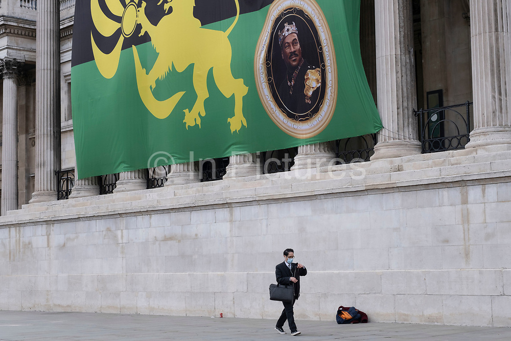 Giant flag on the exterior of the National Gallery advertising the movie Coming 2 America on 5th March 2021 in London, England, United Kingdom. Coming 2 America is a 2021 American comedy film that serves as a sequel to the 1988 film Coming to America starring Eddie Murphy.