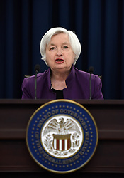 June 14, 2017 - U.S. Federal Reserve Chair Janet Yellen speaks during a news conference in Washington D.C., capital of the United States. U.S. Federal Reserve on Wednesday raised the benchmark interest rates for the fourth time since December 2015, and unveiled plans to start trimming its balance sheet. (Credit Image: © Yin Bogu/Xinhua via ZUMA Wire)