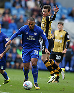 Kenneth Zohore of Cardiff city is challenged by David Jones of Sheffield Wednesday (r). EFL Skybet championship match, Cardiff city v Sheffield Wednesday at the Cardiff City Stadium in Cardiff, South Wales on Saturday 16th September 2017.<br /> pic by Andrew Orchard, Andrew Orchard sports photography.