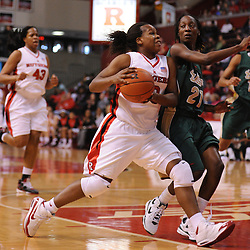 Jan 31, 2009; Piscataway, NJ, USA; Rutgers guard Epiphanny Prince (10) drives to the net against South Florida guard Janae Stokes (21) during the first half of South Florida's 59-56 victory over Rutgers in NCAA women's college basketball at the Louis Brown Athletic Center