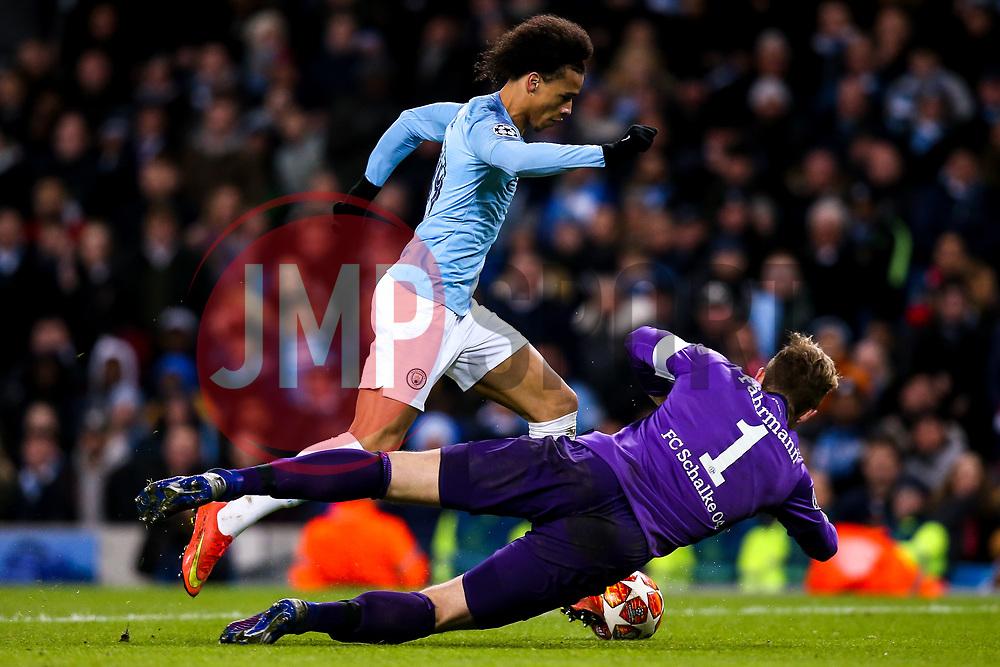 Leroy Sane of Manchester City goes round Ralf Fahrmann of Schalke - Mandatory by-line: Robbie Stephenson/JMP - 12/03/2019 - FOOTBALL - Etihad Stadium - Manchester, England - Manchester City v Schalke - UEFA Champions League, Round of 16, 2nd leg
