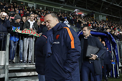 (L-R) coach Dick Advocaat of Holland, goalkeeper trainer Frans Hoek of Holland during the FIFA World Cup 2018 qualifying match between Belarus and Netherlands on October 07, 2017 at Borisov Arena in Borisov,  Belarus