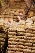 Baclava for sale. Borough Market is a thriving Farmers market near London Bridge. Saturday is the busiest day.