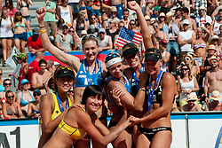 The winning team Kerri Walsh and Misty May-Treanor of USA, second place for Chen Xue and Xi Zhang of China and third place for Marleen Van Iersel and Sanne Keizer of Netherland at A1 Beach Volleyball Grand Slam tournament of Swatch FIVB World Tour 2011, on August 6, 2011 in Klagenfurt, Austria. (Photo by Matic Klansek Velej / Sportida)