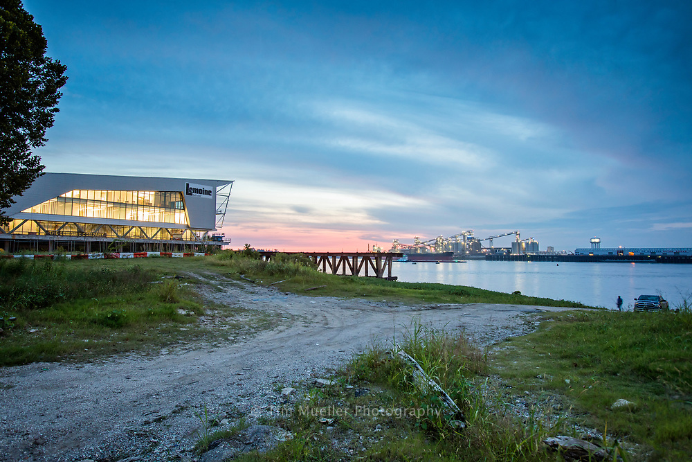Time Lapse showing The Water Institute of the Gulf building and the Mississippi River in Baton Rouge, La.