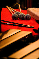 Marimba mallets rest along with other tools being used during of the presentation of Rowan University's Percussion Ensemble and Marimba Band.