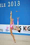 Jerõgina Karina during qualifying at clubs in Pesaro World Cup at the Adriatic Arena on April 27, 2013. Karina is an Estonian individual gymnast born January 7, 1997 in Tallin, Estonia.