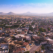 Panoramic view of the Uchisar village and Cappadocia valleys and mountains