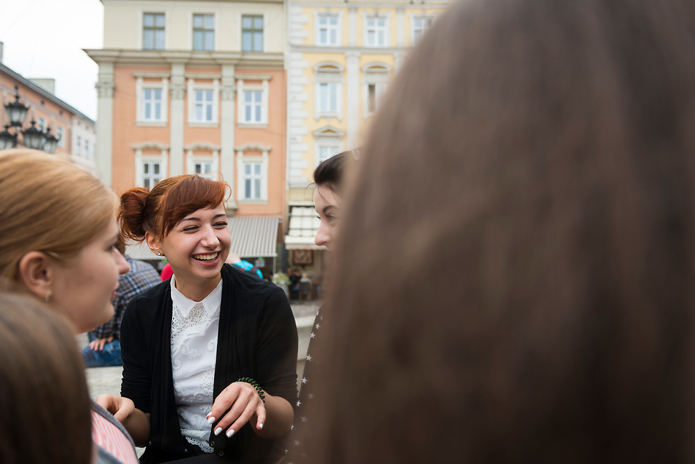 Speech therapist students hang out together in the main square of Lviv, Ukraine.<br /> <br /> (Septmeber 6, 2016)