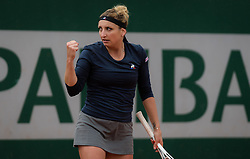May 21, 2019 - Paris, FRANCE - Timea Bacsinszky of Switzerland in action during the first qualifications round at the 2019 Roland Garros Grand Slam tennis tournament (Credit Image: © AFP7 via ZUMA Wire)