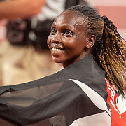 TOKYO, JAPAN August 4:  Hyvin Kiyeng of Kenya celebrates her bronze medal finish after the 3000m Steeplechase final for women at the Olympic Stadium at the Tokyo 2020 Summer Olympic Games on August 4th, 2021 in Tokyo, Japan. (Photo by Tim Clayton/Corbis via Getty Images)