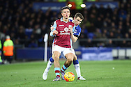 Jack Grealish of Aston Villa shields the ball from Seamus Coleman of Everton. Barclays Premier League match, Everton v Aston Villa at Goodison Park in Liverpool on Saturday 21st November 2015.<br /> pic by Chris Stading, Andrew Orchard sports photography.