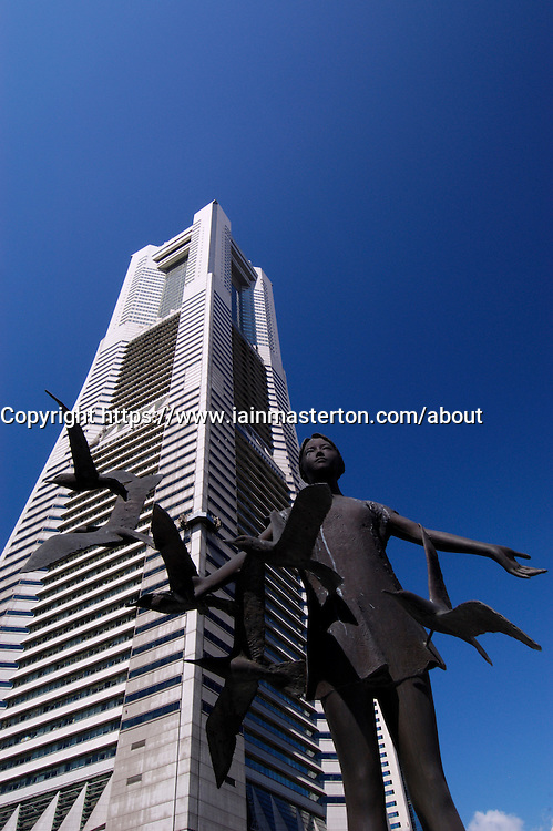 Modern art statue and skyscrapers at Minato Mirai in Yokohama in Japan