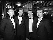 "B.O.I. GAA Allstars  (R96)..1989..03.02.1989..02.03.1989..3rd February 1989..The Awardsfor the B.O.I.Allstars were held tonight in the Burlington Hotel,Dublin. The list of the winnersis as follows..1989 - HURLING ALL STARS J. Commins (Galway), A. Fogarty (Offaly), E. Cleary (Wexford), D. Donnelly (Antrim), Conal Bonnar (Tipperary), B. Ryan (Tipperary), S. Treacy (Galway), M. Coleman (Galway), D. Carr (Tipperary), E. Ryan (Galway), Joe Cooney (Galway), O. McFetridge (Antrim), P Fox (Tipperary), Cormac Bonnar (Tipperary), N. English (Tipperary)."" 1989 - FOOTBALL ALL STARS Gabriel Irwin (Mayo), Jimmy Browne (Mayo), Gerry Hargan (Dublin), Dermot Flanagan (Mayo); Connie Murphy (Kerry), Conor Counihan (Cork), Anthony Davis (Cork); Teddy McCarthy (Cork), Willie Joe Padden (Mayo); Dave Barry (Cork) Larry Tompkins (Cork), Noel Durkin (Mayo); Paul McGrath (Cork), Eugene McKenna (Tyrone), Tony McManus (Roscommon).""..Pictured at the Allstars Event were hurling alstars, Bobby  Ryan, Tipperary, Declan Ryan, Tippwrary, Nicholas English, Tipperary and Tony O'Sullivan, Cork."