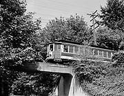 Y-470823-01.  Council Crest Trolley 505 crossing a bridge near Council Crest, August 23, 1947.