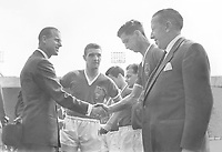 Football : Bolton Wanderers v Manchester United 03/05/1958 FA Cup Final 1958 @ Wembley Credit: Colorsport<br /> Bill Foulkes (Captain) - Manchester United, introduces Prince Philip to Freddie Goodwin - Manchester United before kick off. Caretaker Manager Jimmy Murphy (right)