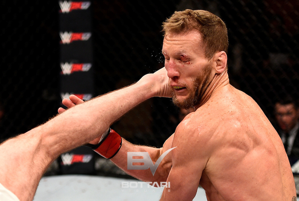 LAS VEGAS, NV - DECEMBER 03:  Gray Maynard is kicked by Ryan Hall in their featherweight bout during The Ultimate Fighter Finale event inside the Pearl concert theater at the Palms Resort & Casino on December 3, 2016 in Las Vegas, Nevada. (Photo by Jeff Bottari/Zuffa LLC/Zuffa LLC via Getty Images)