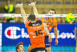 Andrej Flajs of ACH Volley vs Russell Holmes of Asseco Resovia Rzeszow during volleyball match between ACH Volley Ljubljana and Asseco Resovia Rzeszow in 2nd Round of CEV Champions League, on November 19, 2014 in Hala Tivoli, Ljubljana, Slovenia. Photo by Matic Klansek Velej / Sportida