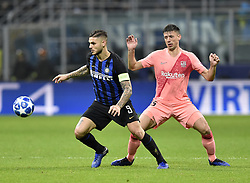 MILAN, Nov. 7, 2018  FC Inter's Mauro Icardi (L) vies with FC Barcelona's Clement Langlet during the UEFA Champions League Group B match between FC Inter and FC Barcelona in Milan, Italy, on Nov. 6, 2018. The match ended with 1-1 draw. (Credit Image: © Augusto Casasoli/Xinhua via ZUMA Wire)