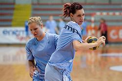 Alja Koren (R) and Neza Mitrusevska at practice of Slovenian Handball Women National Team, on June 3, 2009, in Arena Kodeljevo, Ljubljana, Slovenia. (Photo by Vid Ponikvar / Sportida)