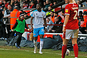 Bez Lubala in action during the EFL Sky Bet League 2 match between Walsall and Crawley Town at the Banks's Stadium, Walsall, England on 18 January 2020.