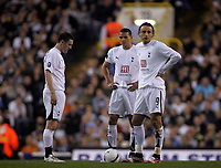 Photo: Paul Thomas.<br /> Tottenham Hotspur v Sevilla. UEFA Cup. Quarter Final, 2nd Leg. 12/04/2007.<br /> <br /> Dejected Spurs (L-R) Robbie Keane, Jermain Jenas and Dimitar Berbatov after Sevilla score.