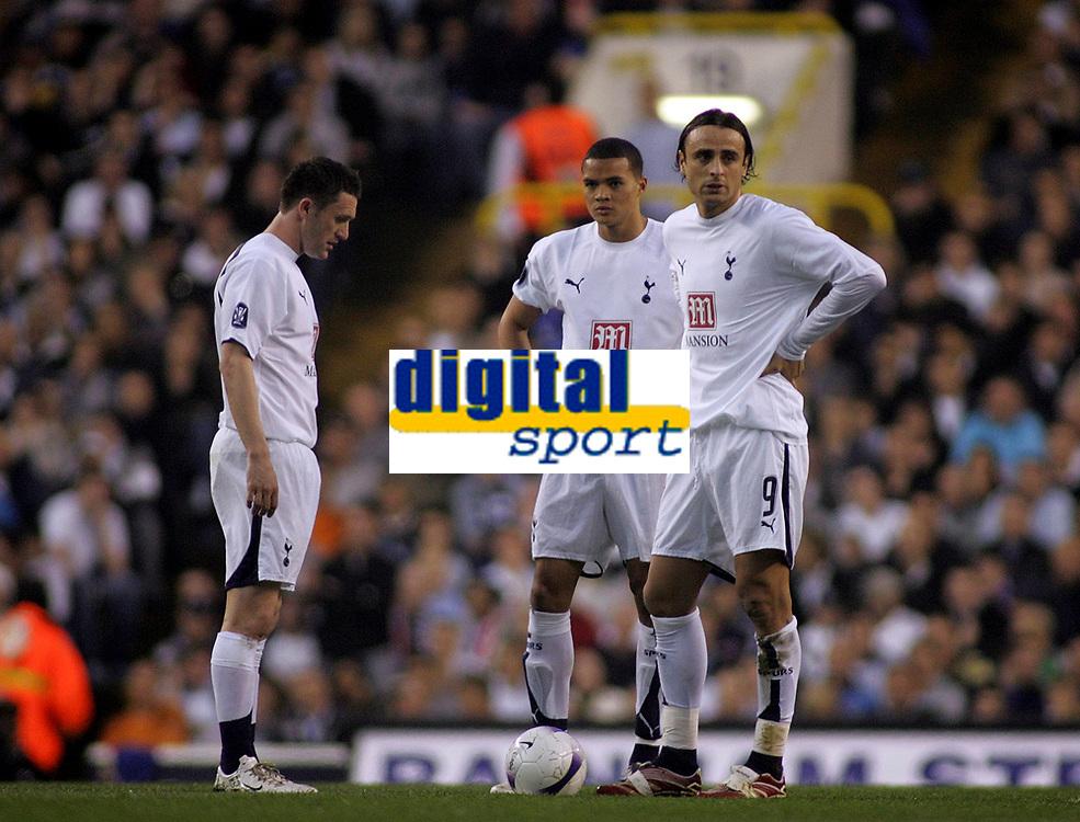 Photo: Paul Thomas.<br /> Tottenham Hotspur v Sevilla. UEFA Cup. Quarter Final, 2nd Leg. 12/04/2007.<br /> <br /> Dejected Spurs (L-R) Robbie Keane, Jermain Jenas and Dimitar Berbatov after Sevilla score.