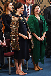 The Duchess of Sussex wears a traditional Maori cloak called a Korowai during a visit to Te Papaiouru, Ohinemutu, in Rotorua, before a lunch in honour of Harry and Meghan, on day four of the royal couple's tour of New Zealand.